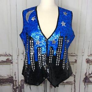 Vintage JUST FABULOUS silk city blue sequins vest